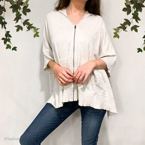 Eileen Fisher Zip Up Hooded Poncho Pockets Cotton